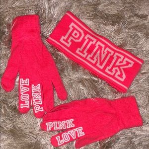 NWOT PINK Gloves and Headband